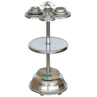 Chrome Art Deco Two Tier Ashtray Stand With Electric Lighter - 50th Anniversary Sale For Sale