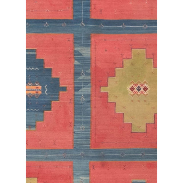 "Blue, pink and sandy beige vintage Turkish Kilim rug Size: 11'0"" × 15'10"" (335 × 482 cm). This antique Turkish kilim..."