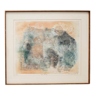 """Shoichi Hasegawa """"Petite Horloge"""" Limited Edition Color Etching C.1970s For Sale"""