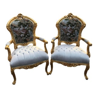 Modern French Louis XV Style Chairs- A Pair For Sale