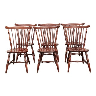 Cherry Colonial Fiddleback Dining Chair - Set of 6 For Sale