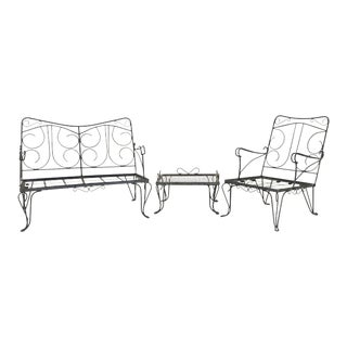 Celebrity Bud Abbot's 1940's Outdoor Wrought Iron Lawn Furniture For Sale