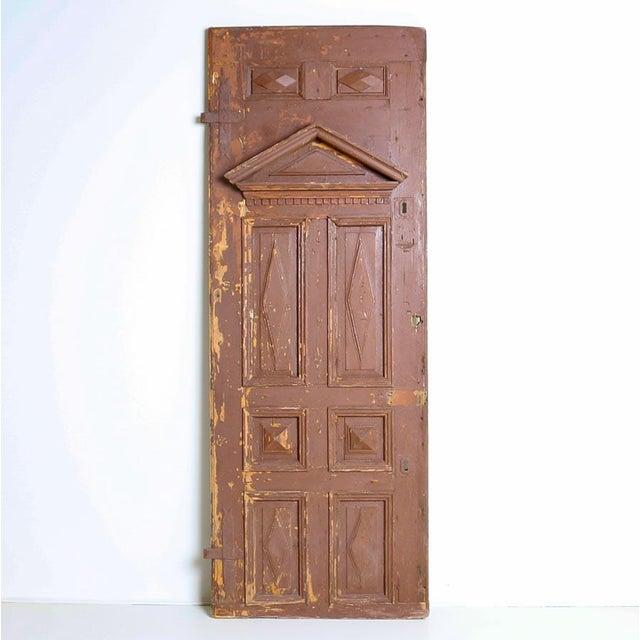 Antique Original Brown Painted Rustic Wood Door For Sale - Image 6 of 6