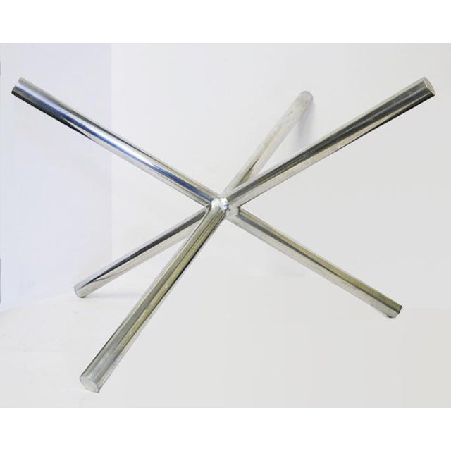 Mid-Century Chrome Jax Tripod Table Attributed to Milo Baughman Base has a perfect intersection of the three diagonal...