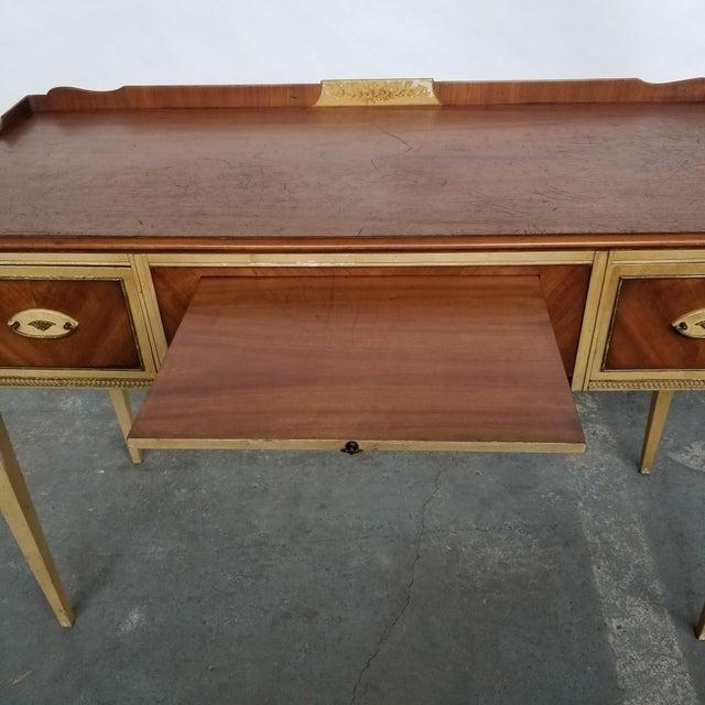 Brown Antique Flint & Horner French Deco Writing Desk/Vanity For Sale - Image 8 of 13