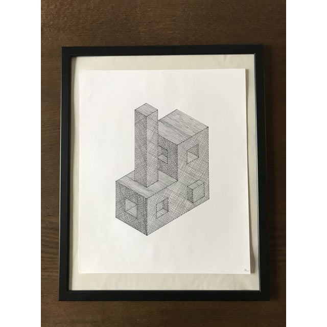 Abstract 3d Shapes Hand Drawn Ink Illustration For Sale - Image 3 of 3