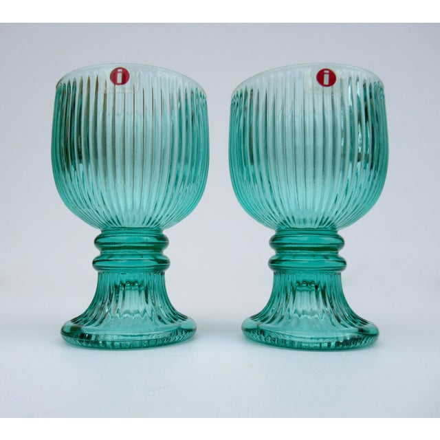 """Vintage; L'ittala crystal footed cordial glasses in a serene yet vibrant mint hue. Alas we """"only,"""" have a pair, but worthy..."""