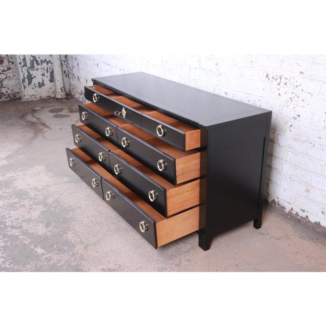 Metal Baker Furniture Hollywood Regency Black Lacquered Dresser or Credenza, Newly Refinished For Sale - Image 7 of 10