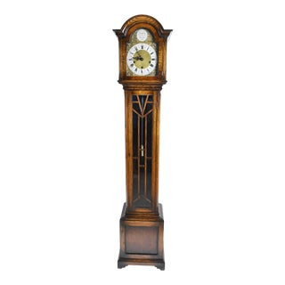 Antique Style English Oak Grandmother Clock For Sale