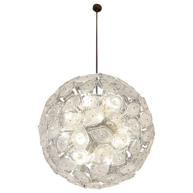 Contemporary Italian Brass & White Frosted Murano Glass Leaf Sputnik Chandelier For Sale - Image 9 of 9