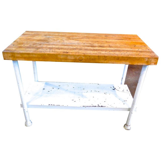 White Iron Kitchen Island With Butcher Block - Image 1 of 10