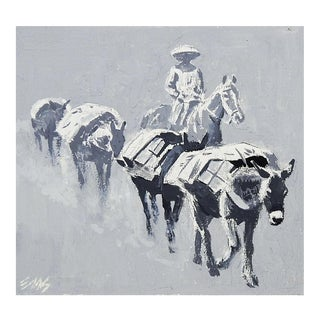 Cowboy & Pack Mules Illustration Painting