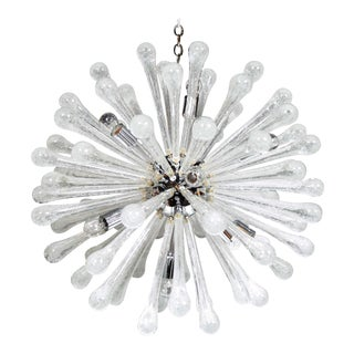 Modernist Clear Murano Glass Sputnik Chandelier with Chromed Fittings For Sale
