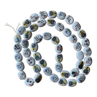 Boho Decor Chinese Astrological Signs Hand Painted Porcelain Beads For Sale