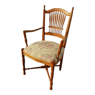 Vintage French Country Ethan Allen Side Chair With Carved Wheat Sheaf Spindles For Sale
