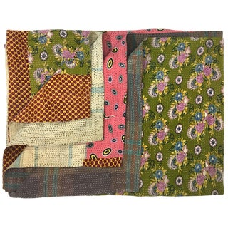 Blocks of Color Vintage Kantha Quilt For Sale