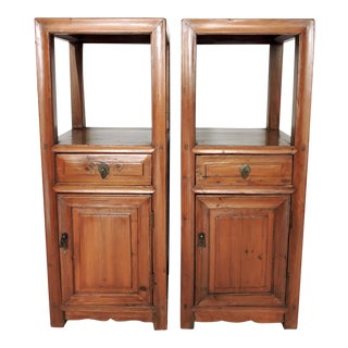 Fine Antique Chinese Pine Wood Pedestal Style Storage Cabinets, Cupboards, Pedestal Shelves - a Pair For Sale