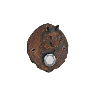 Log End Wolf Doorbell with Traditional Patina For Sale