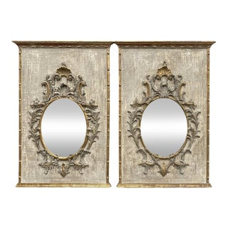Carved Tuscan Painted Panels With Mirrors - a Pair For Sale