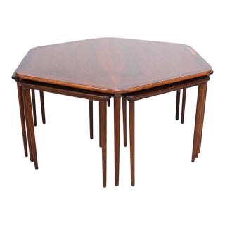 Hexagon Coffee Table and Nesting Tables Danish Mid-Century Modern in Rosewood For Sale
