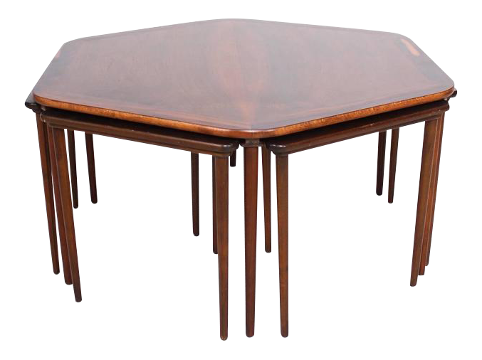 Hexagon Coffee Table And Nesting Tables Danish Mid Century Modern In  Rosewood   Image 1