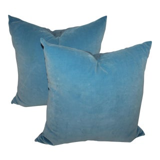Pair of Light Blue Velvet Pillows For Sale