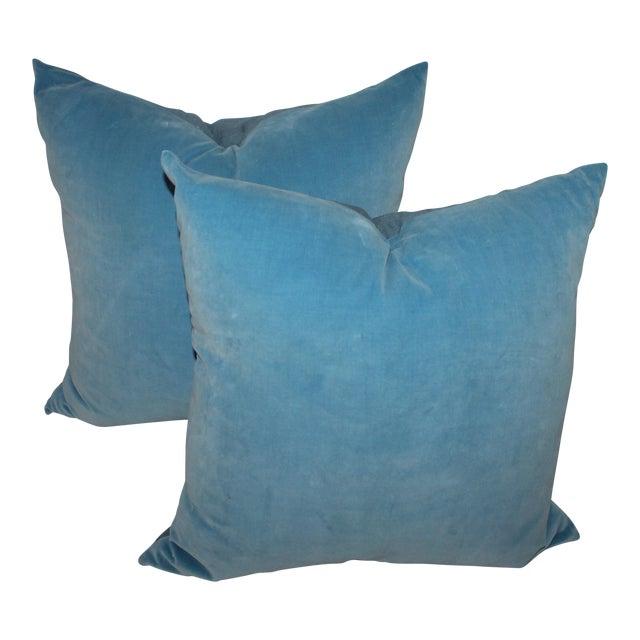 Pair of Light Blue Velvet Pillows For Sale