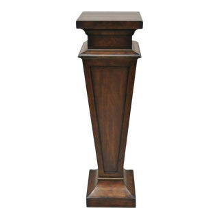 Ethan Allen Mahogany Finish Fiberglass Tall Pedestal Plant Stand For Sale
