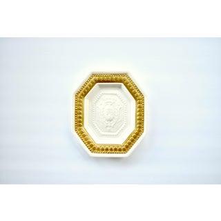 Vintage Italian Mottahedeh Porcelain Wall Plaque With Heraldic Crest and Fleur De Lys Preview