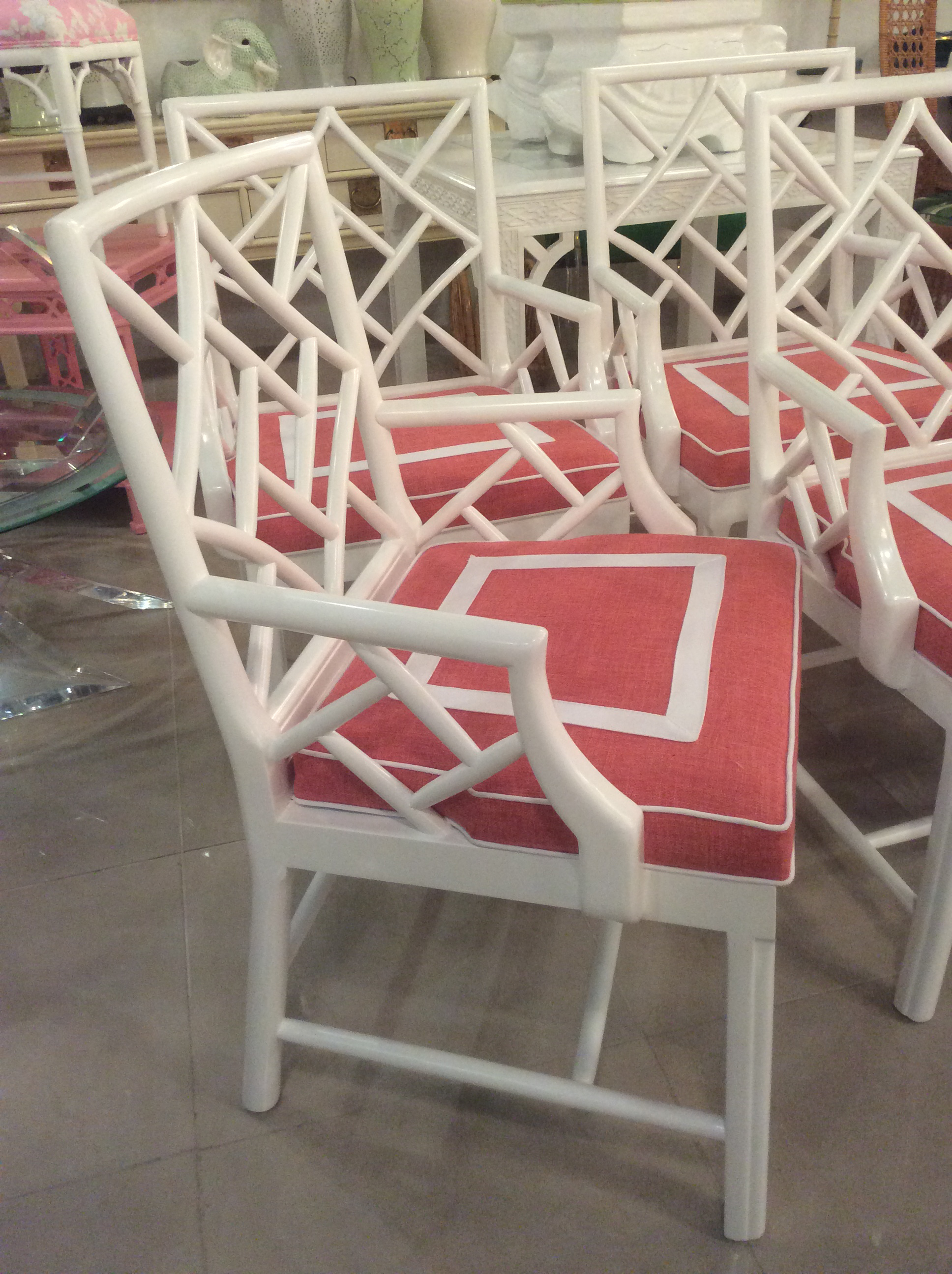 Bon Vintage Palm Beach Cockpen Lacquered Arm Dining Chairs   Set Of 4 For Sale  In West