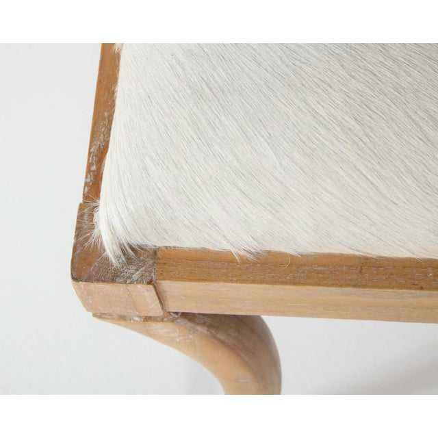 Cerused Oak and White Pony Hide Ottoman, in the Style of Jean-Michel Frank For Sale - Image 9 of 10