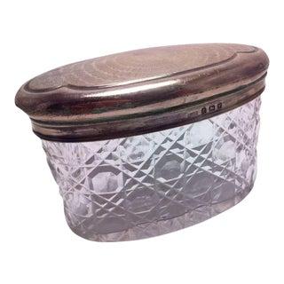 Levi & Salaman Birmingham Oval Sterling Silver Top Dresser Jar 1920 For Sale