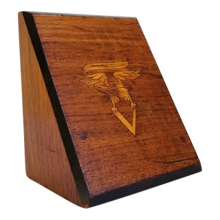 Antique 19th Century American Wood Inlay Bookend