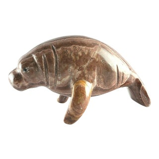 Carved Marble Manatee Sculpture For Sale