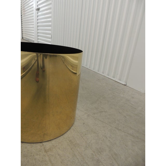 Mid-Century Modern Large Mid-Century Modern Gold Color Round Planter For Sale - Image 3 of 5