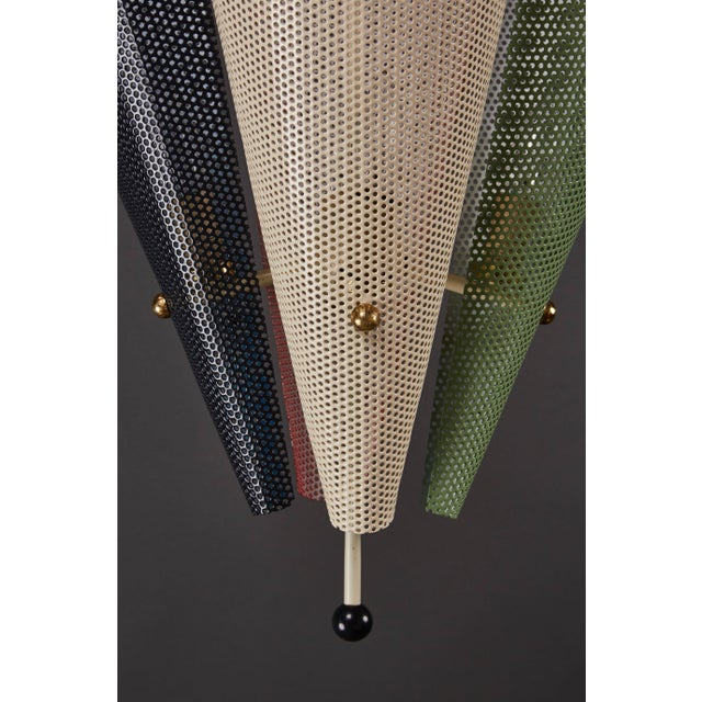 French Perforated Metal Ceiling Pendant Attributed to Mathieu Mategot For Sale In Los Angeles - Image 6 of 9
