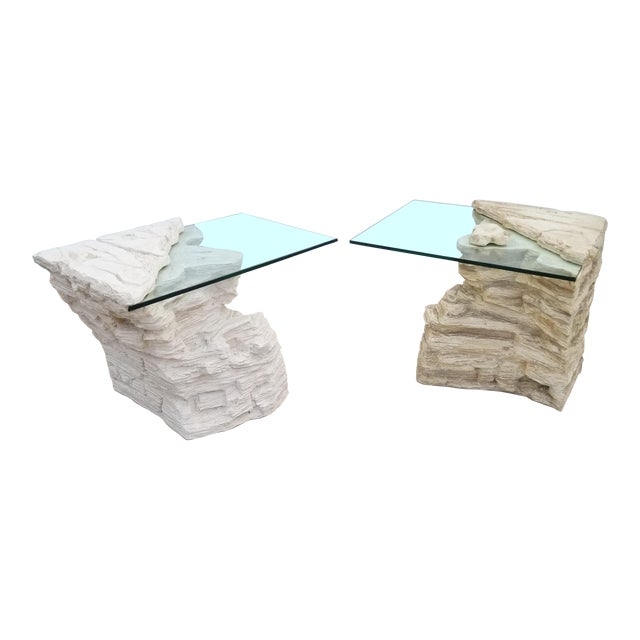 Sirmos Faux Rock Plaster Side Tables - a Pair For Sale