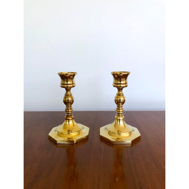 Mid-Century Brass Octagonal Base Candlesticks - a Pair For Sale - Image 9 of 9