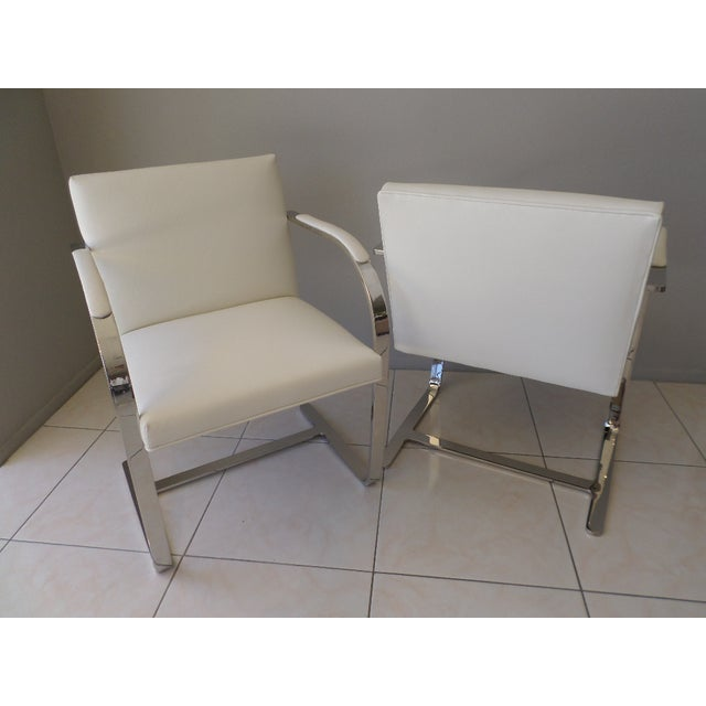 White Brueton Stainless Steel and Leather Brno Chairs - Set of 6 For Sale - Image 8 of 10