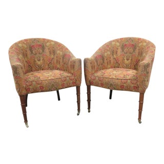 Regency Faux Bamboo Paisley Upholstered Club Chairs - a Pair For Sale