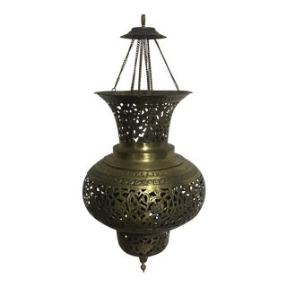Vintage Moroccan Moorish Brass Hanging Light Fixture For Sale