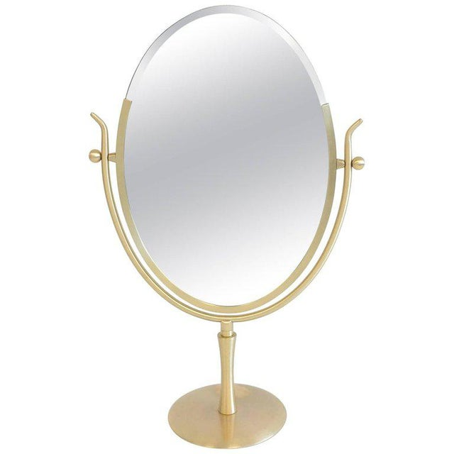 Modern Satin Brass and Leather Vanity Mirror by Charles Hollis Jones For Sale - Image 3 of 11