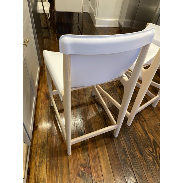 Burano White Leather Sling Counter Stools- Set 3 For Sale In Richmond - Image 6 of 10