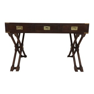 Anglo Indian Campaign Style Teak & Brass Desk For Sale