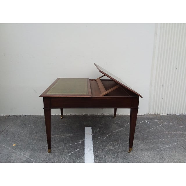 Edwardian English Drafting Partners Table With Green Leather Top For Sale - Image 3 of 12