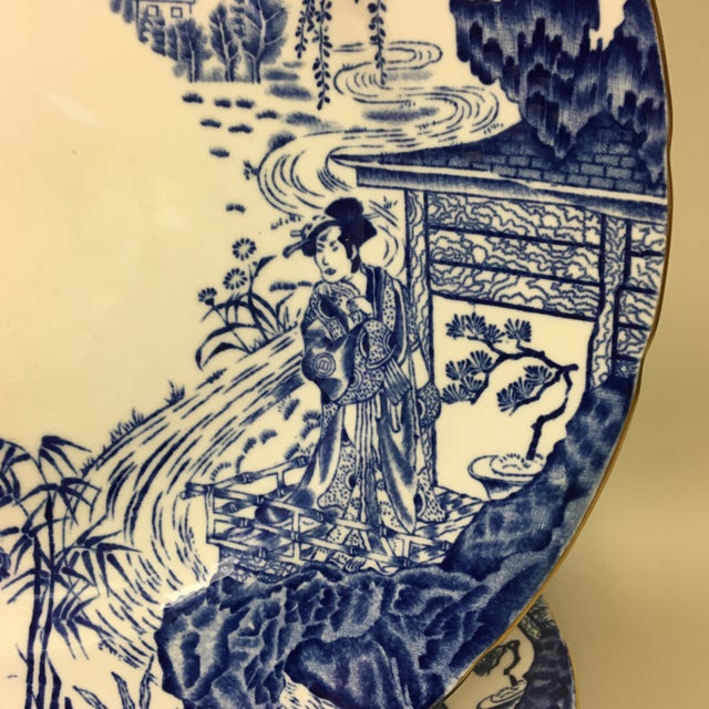 Royal Crown Derby Mikado Blue & White Dinner Plates Set of 10 features a traditional chinoiserie scene with gold trim.