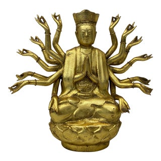 Gilded Cast Bronze Buddha With Multiple Arms Early to Mid 20th C. For Sale