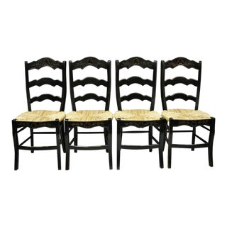 Vintage French Country Rush Seat Ladder Back Black Shell Carved Dining Side Chairs-Set of 4 For Sale