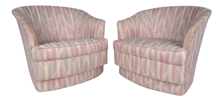 Pair Of John Stuart Inc Lounge Chairs On Casters | Chairish