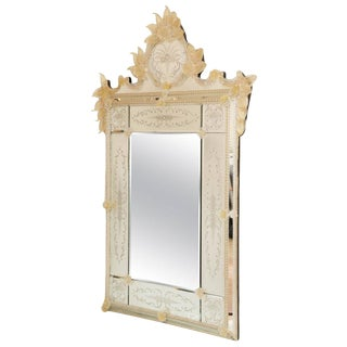 Ornate Etched Venetian Mirror with Bohemian Golden Flowers For Sale